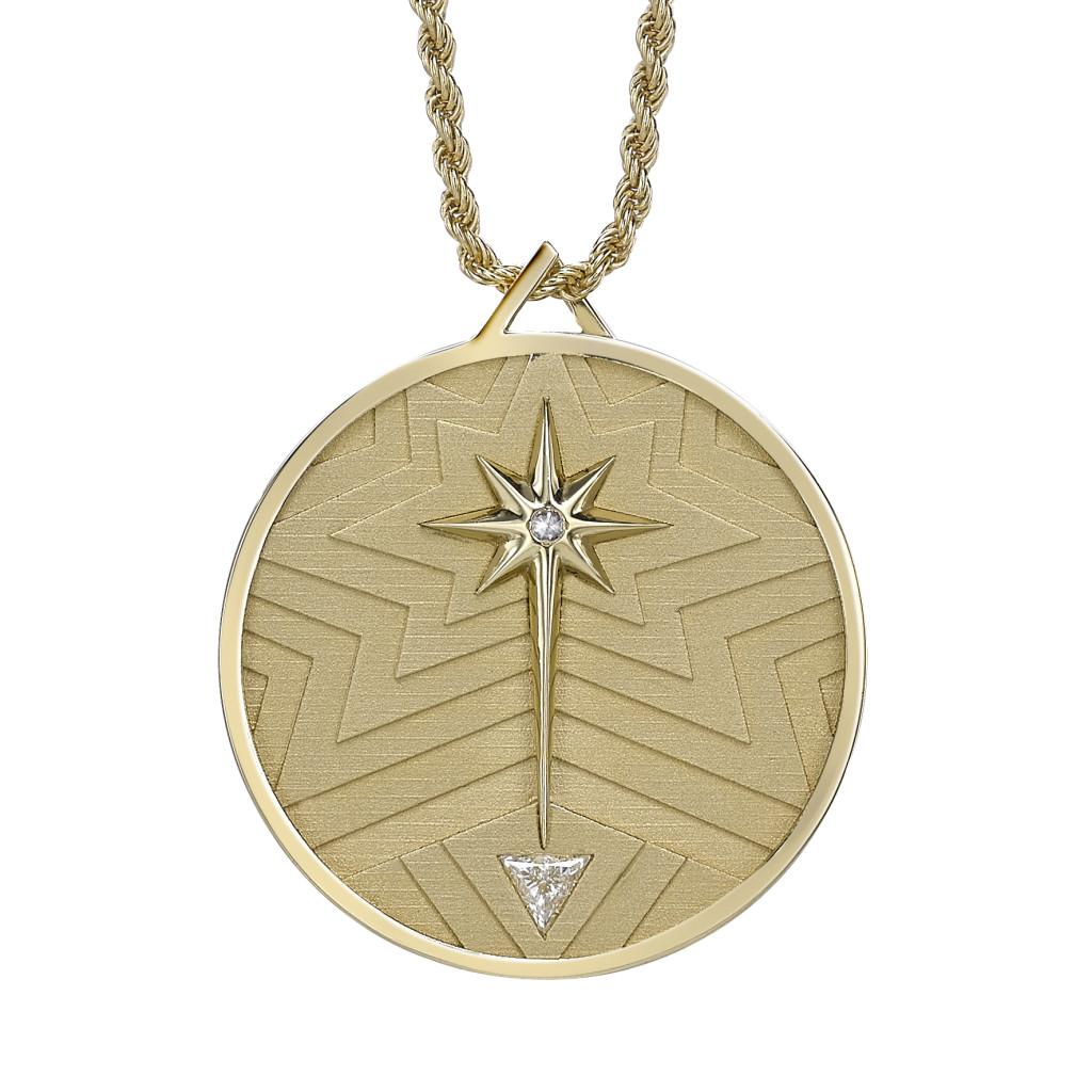 Lucky Coin Pendant Back yellow Gold Diamonds