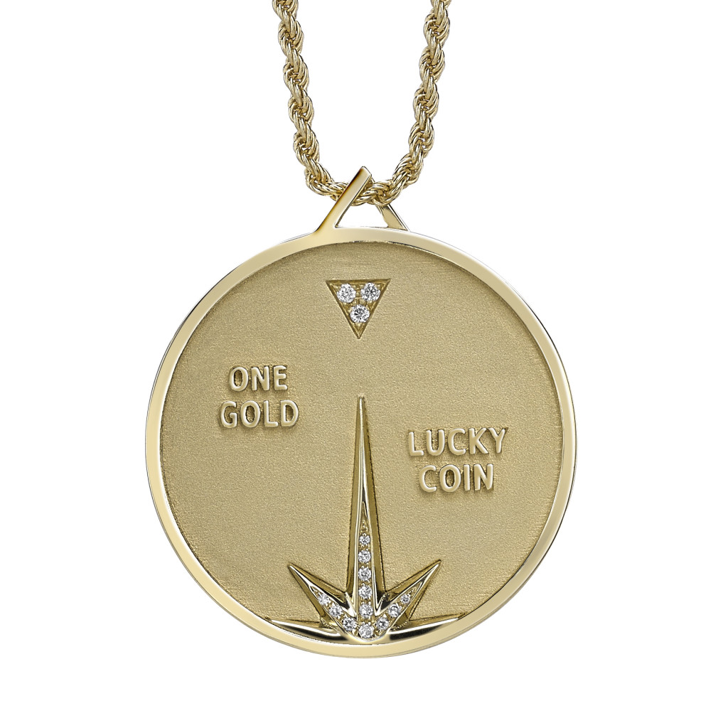 Lucy Coin Pendant FRONT yellow gold diamonds