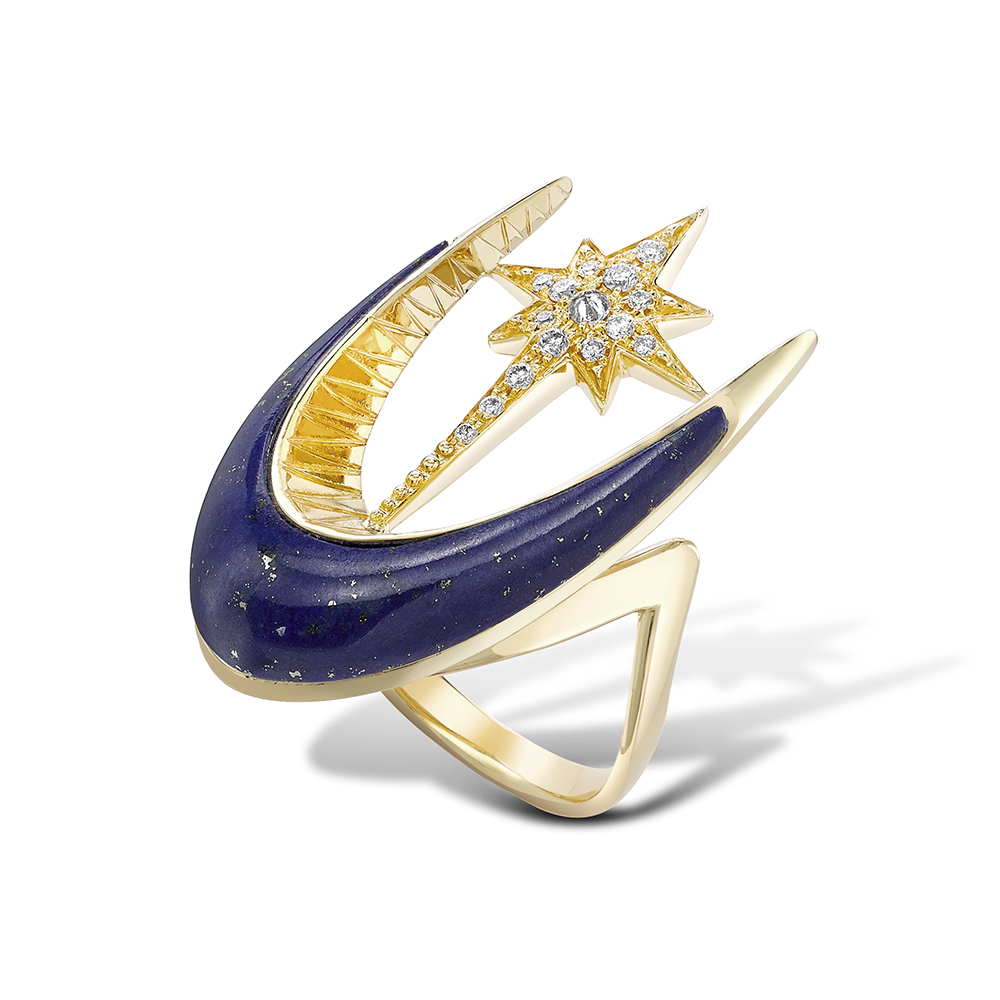 Lapis Parrot Star Fish Ring